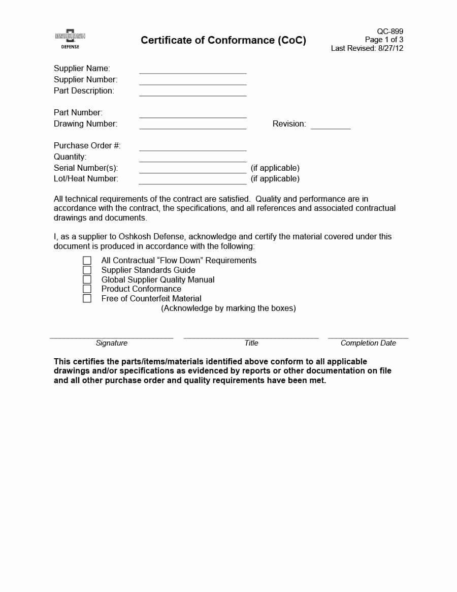 Certificate Of Conformity Template Awesome 40 Free Certificate Of Conformance Templates & forms