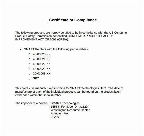 certificate of pliance template