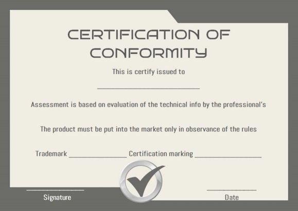 Certificate Of Conformity Template Elegant Certificate Of Conformity Sample Templates