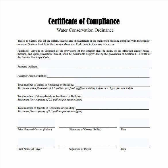 Certificate Of Conformity Template Elegant Sample Certificate Of Pliance 25 Documents In Pdf