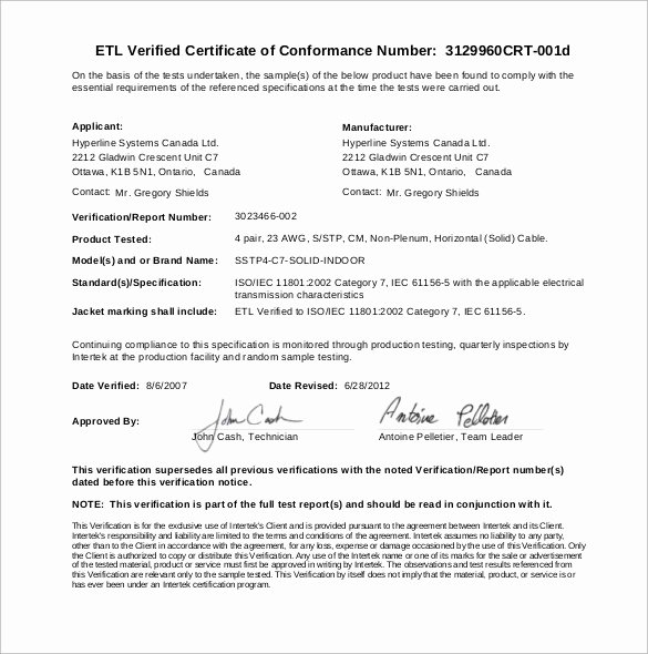 Certificate Of Conformity Template Inspirational Sample Certificate Of Conformance 23 Documents In Pdf