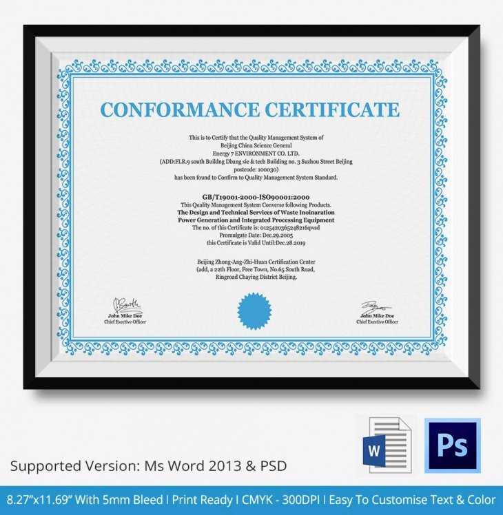 Certificate Of Conformity Template Lovely 12 Conformance Certificates Psd Word Ai Indesign