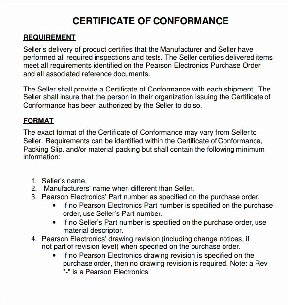 Certificate Of Conformity Template Lovely Sample Certificate Of Conformance 23 Documents In Pdf