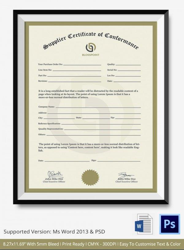 Certificate Of Conformity Template Luxury Certificate Of Conformance Template 7 Free Word Pdf