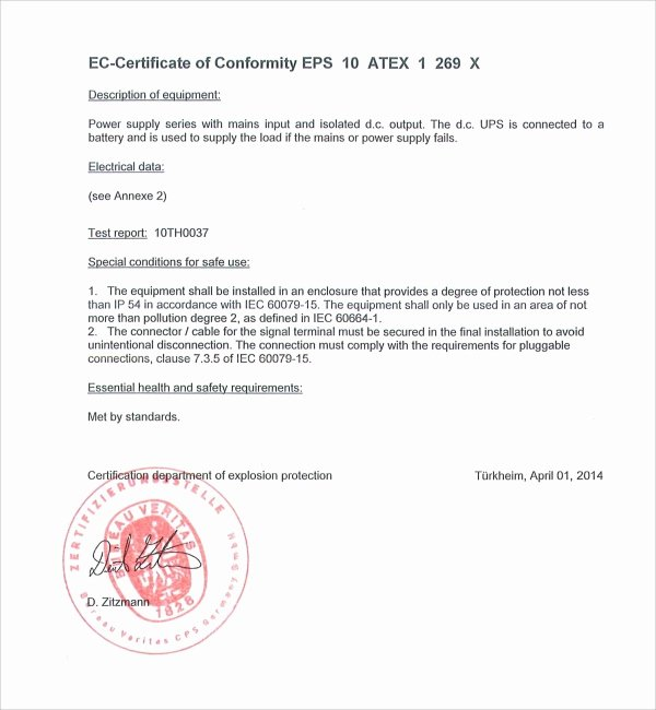 Certificate Of Conformity Template Luxury Sample Conformity Certificate Template 8 Free Documents