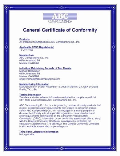 Certificate Of Conformity Template New 11 General Certificate Of Conformity Examples Pdf Word
