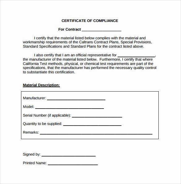 Certificate Of Conformity Template Unique Sample Certificate Of Pliance 25 Documents In Pdf