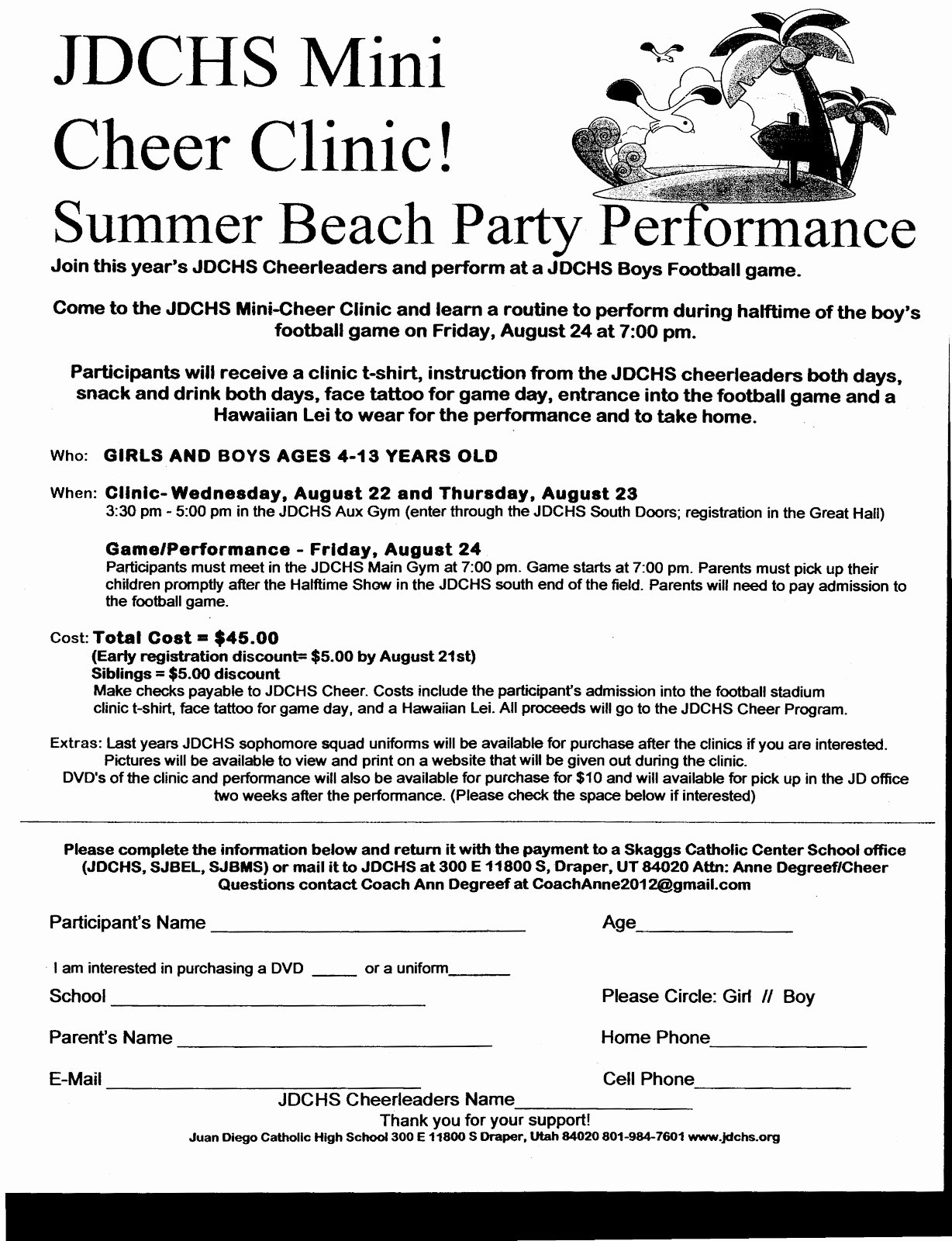 Cheerleading Registration form Template Best Of Jd Cheer Mini Cheer Clinic Flyer