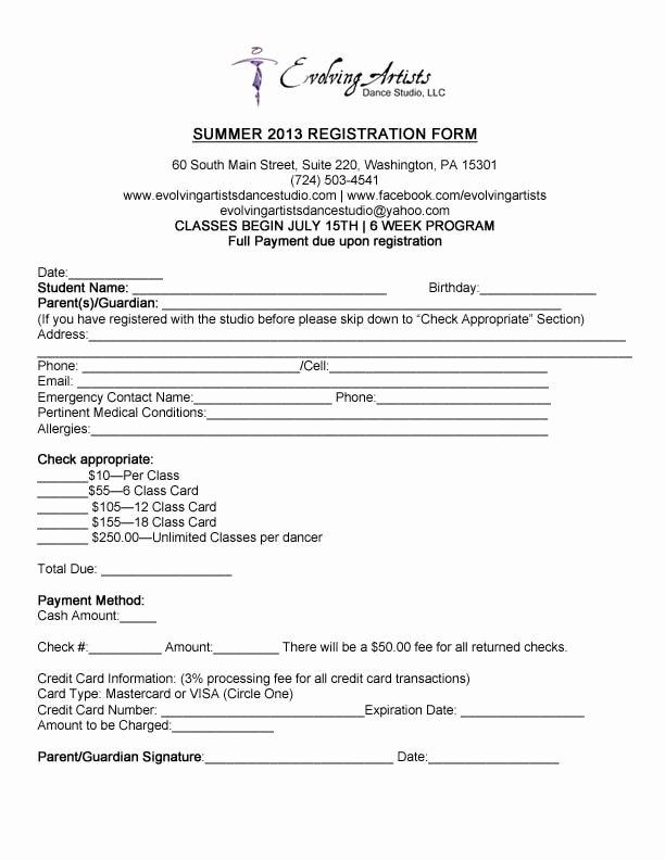Cheerleading Registration form Template Elegant Eads Summer Registration form 2013 Dance Summer