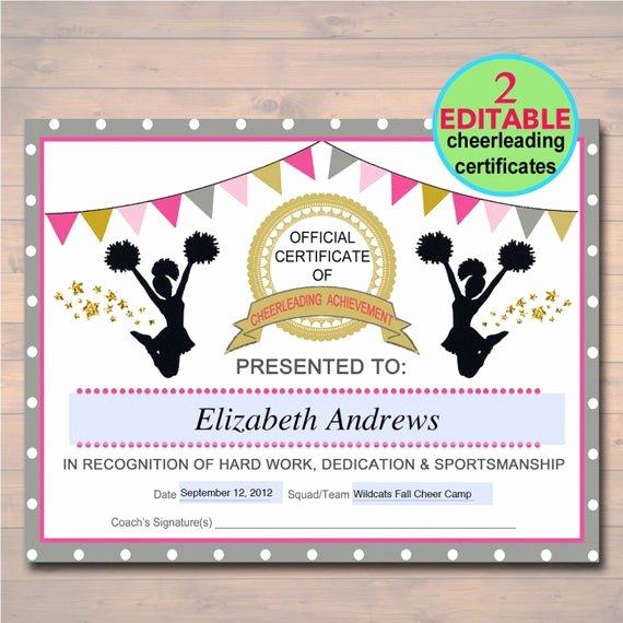 editable cheerleader certificate instant