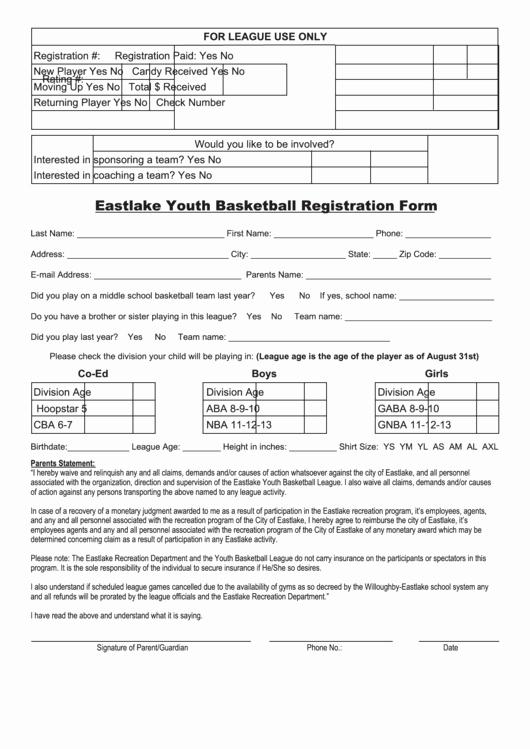 Cheerleading Registration form Template Elegant Youth Basketball Registration form Printable Pdf