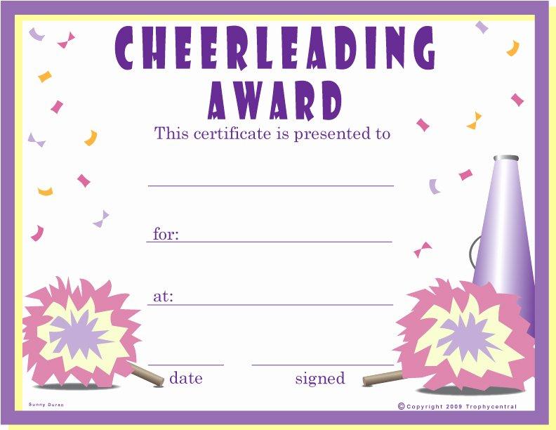 Cheerleading Registration form Template Fresh Award Certificates