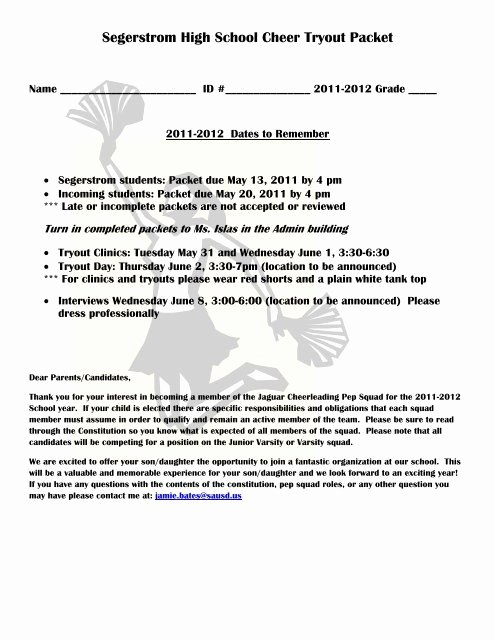 Cheerleading Registration form Template Fresh Segerstrom High School Cheer Tryout Packet
