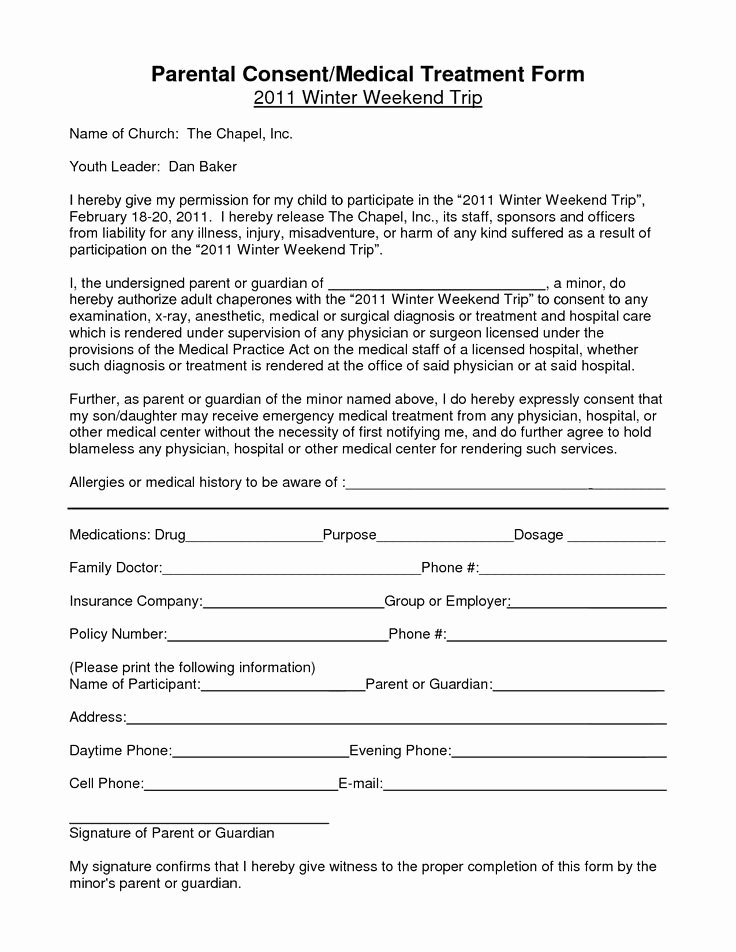 Child Travel Consent form Template Best Of Notarized Medical Consent form for Minor