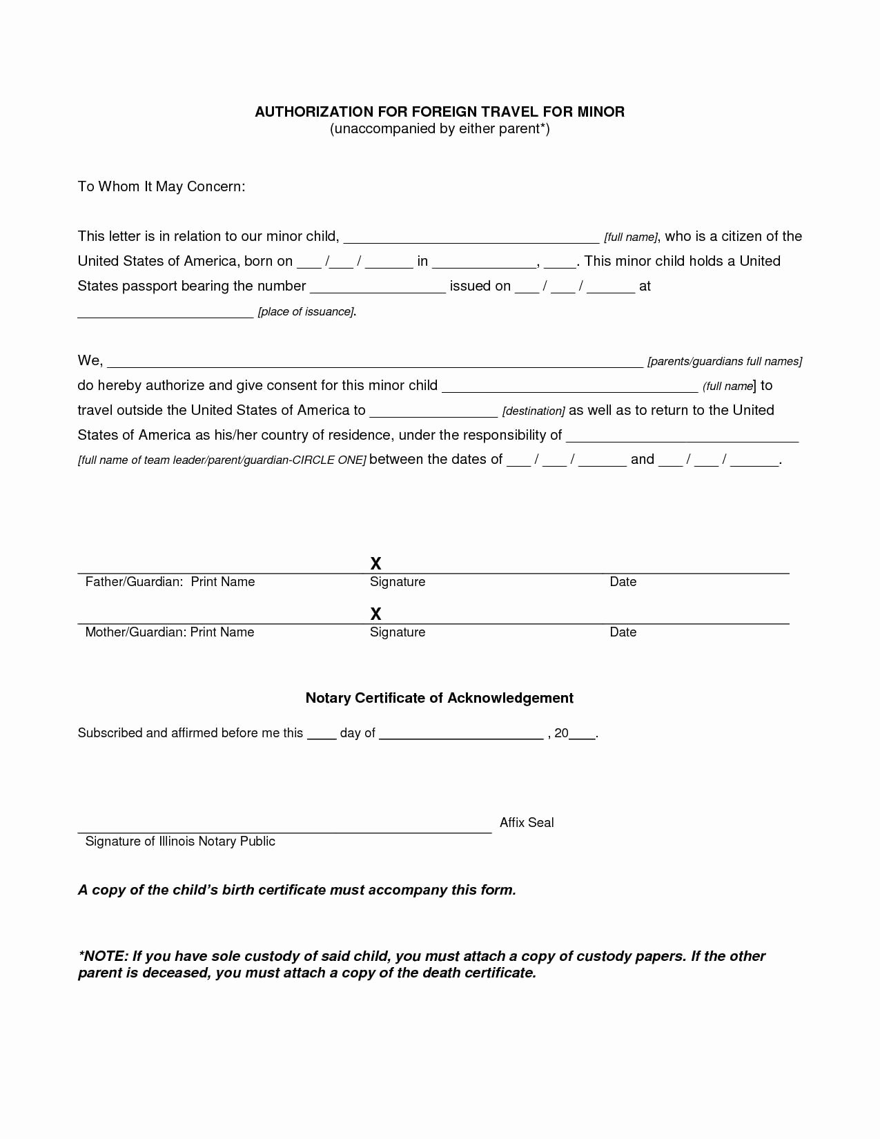 Child Travel Consent form Template Elegant 16 Travel Authorization Letter Examples Pdf