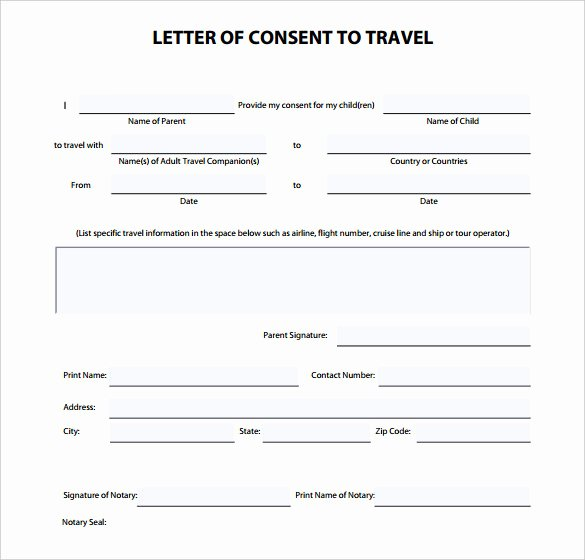 Child Travel Consent form Template Elegant 27 Of Template Letter Consent to Travel with