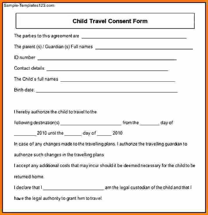 Child Travel Consent form Template Fresh 11 Child Travel Consent form