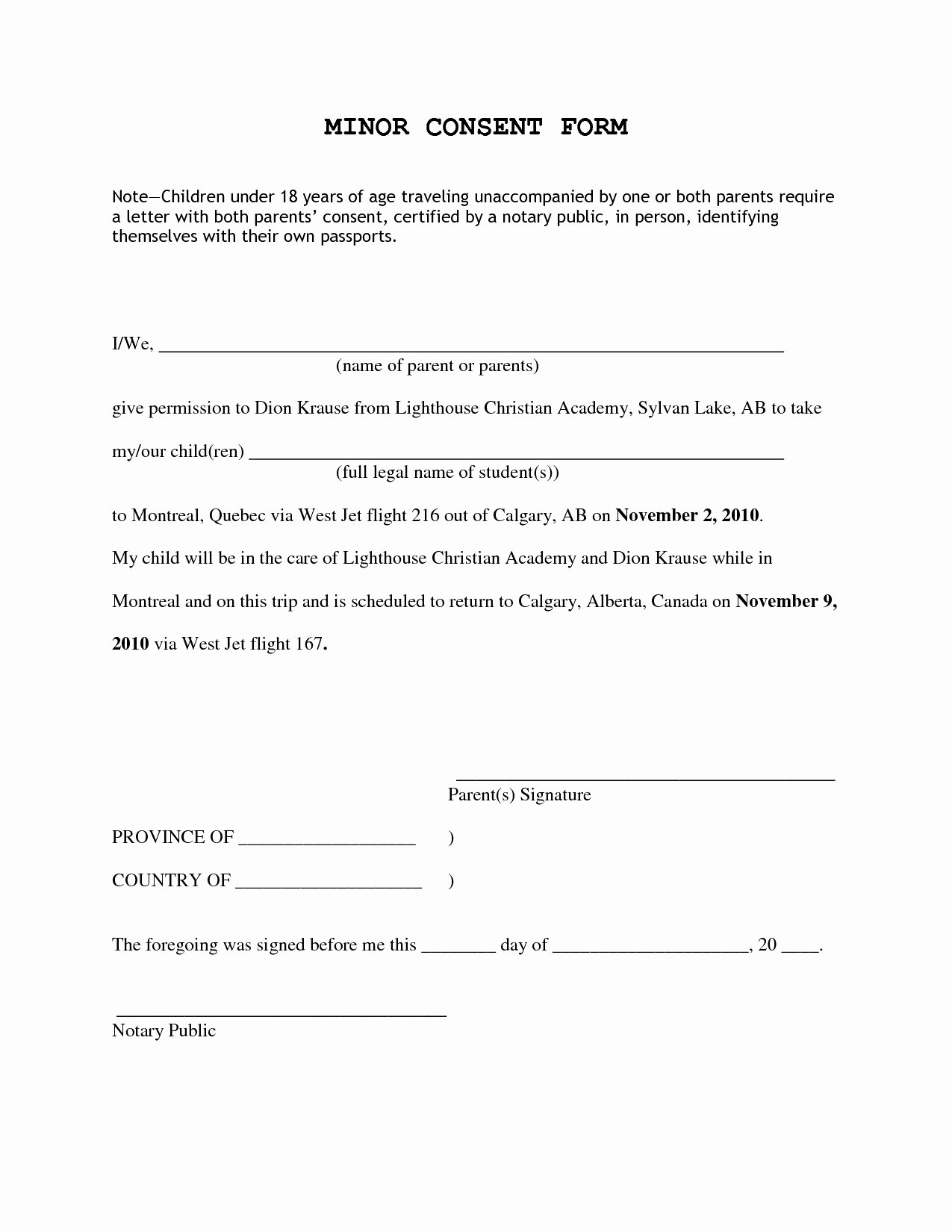Child Travel Consent form Template Fresh Letter Consent for Travel A Minor Child Template