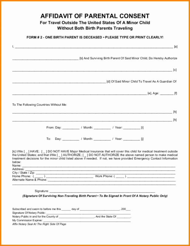 Child Travel Consent form Template Inspirational Parental Consent form