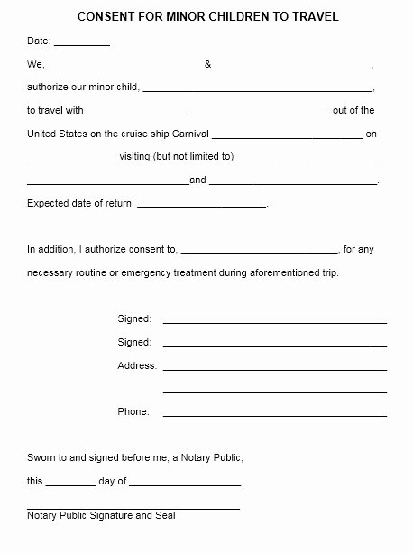 Child Travel Consent form Template Luxury 10 Free Sample Travel Consent form Printable Samples