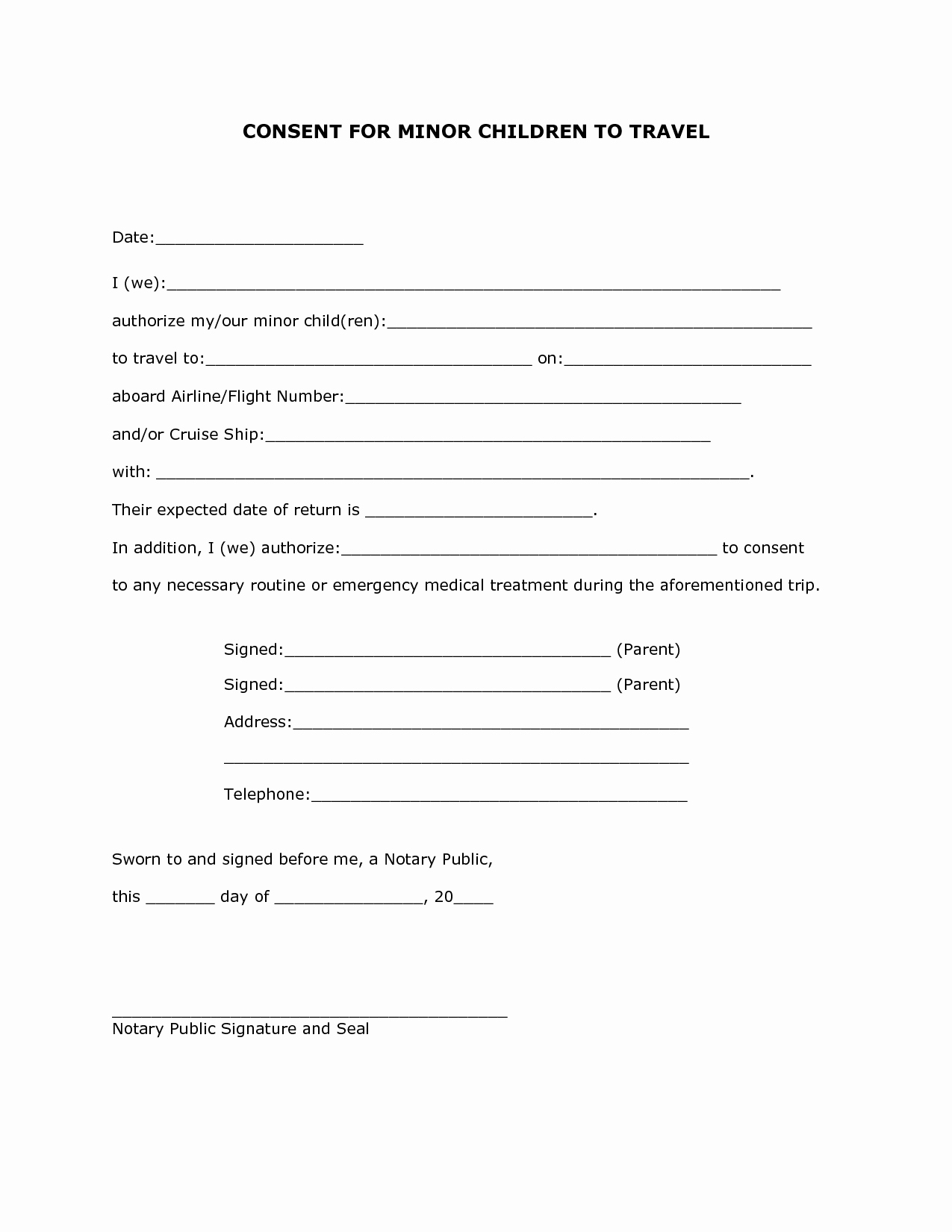 Child Travel Consent form Template Luxury Best S Of Notarized Travel Letter for Minor Child