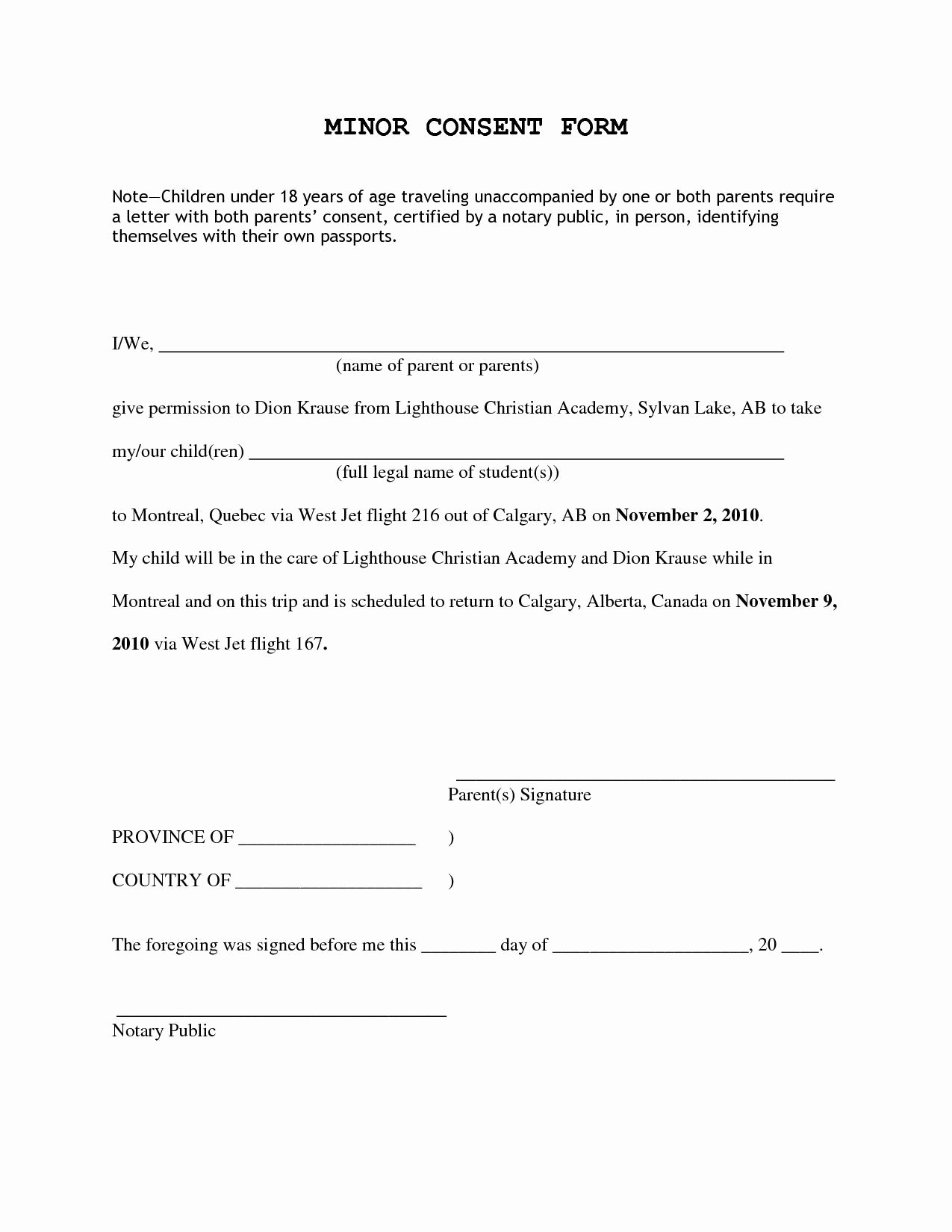 Child Travel Consent form Template Luxury Consent Permission Inside Letter for Children Travelling