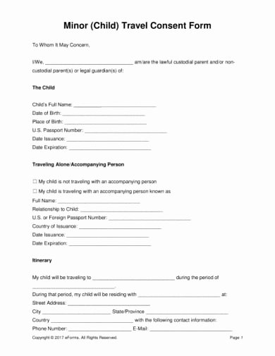 Child Travel Consent form Template New 17 Authorization Letter for A Child to Travel Examples