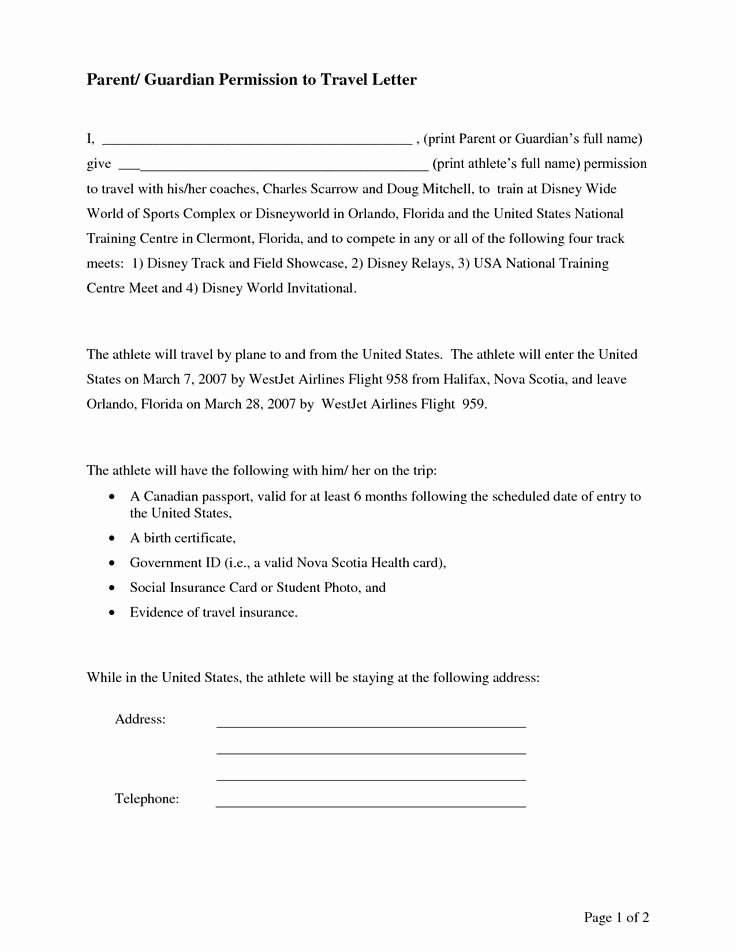 Child Travel Consent form Template Unique Parental Consent Permission Letter Sample