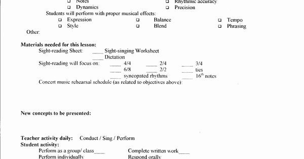 Choir Lesson Plan Template Best Of Lesson Plan Template – Middle School Chorus