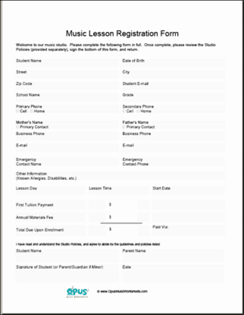 Choir Lesson Plan Template Unique Printable Registration form Templates Word Excel Samples