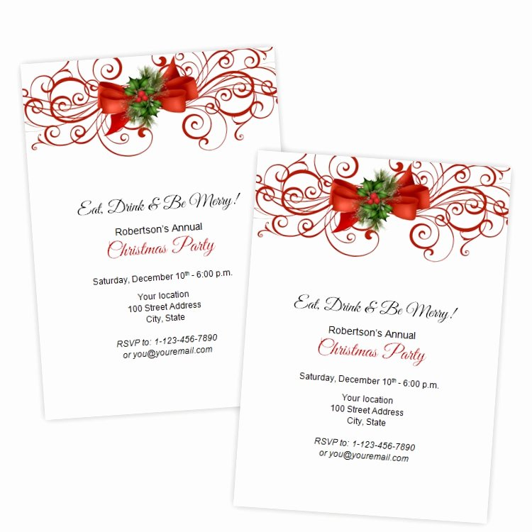 Christmas Party Invite Template Word Inspirational Christmas or Holiday Party Invitation Elegant Red Flourish