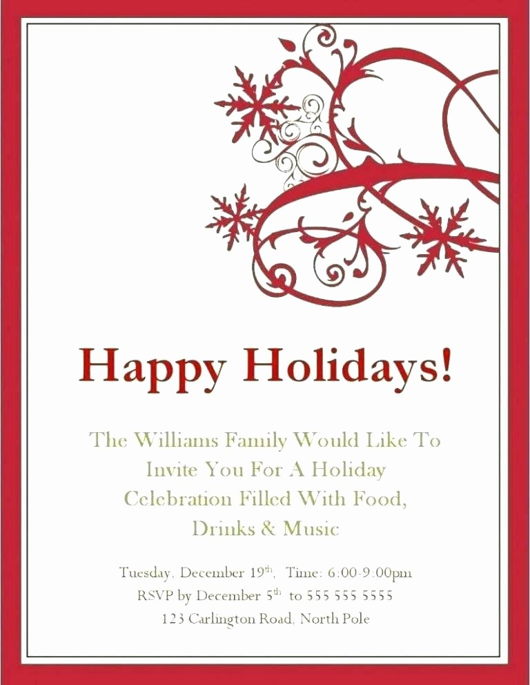 Christmas Party Invite Template Word Lovely Great Email Message Holiday Invitation Templates Idea