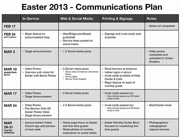 Church Communication Plan Template Best Of Neat Example Of Church Munication Planning Via Phil