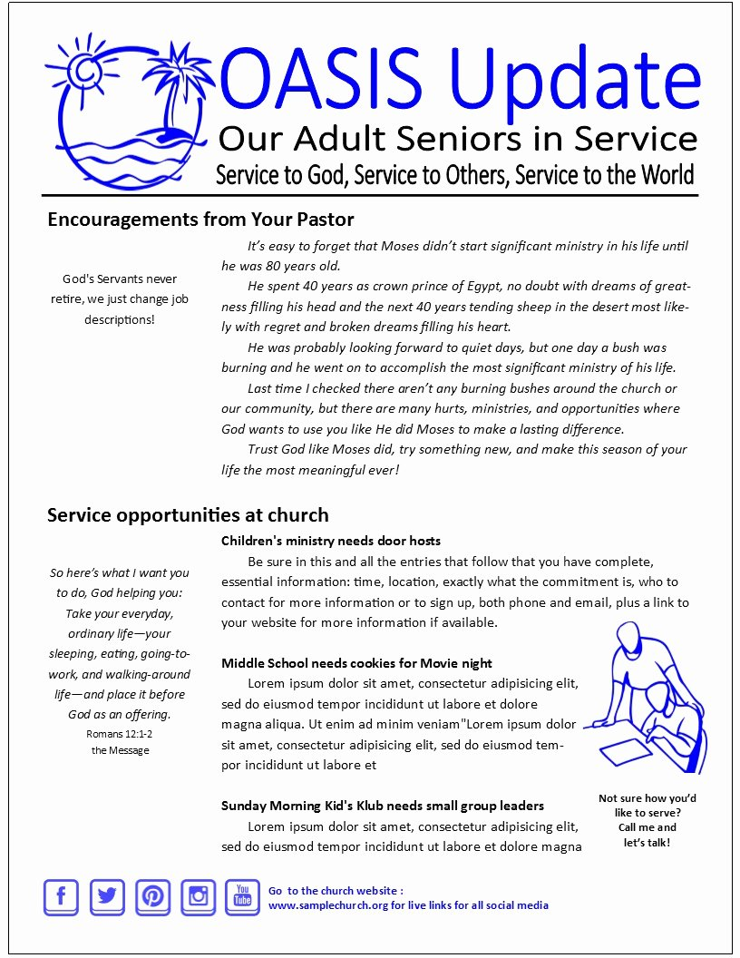 Church Communication Plan Template Luxury 2 Page Senior Adult Print Newsletter Template