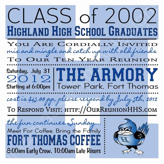 Class Reunion Invitation Template Best Of High School College Class Reunion Blue White Any Color