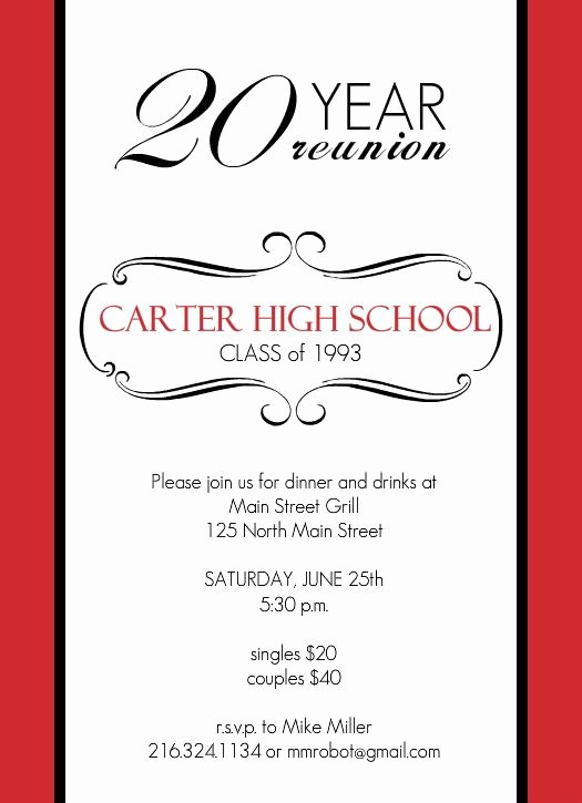 Class Reunion Invitation Template Best Of Reunion Invitations Classic Red and White 20 Year Class