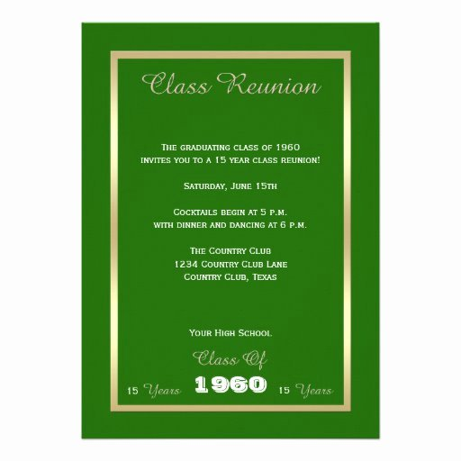 "Class Reunion Invitation Template Inspirational Class Reunion Invitations Any Year Invitation 5"" X 7"