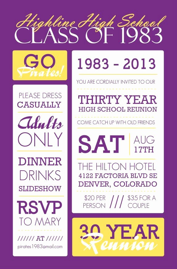 Class Reunion Invitation Template Luxury Poster Style Purple and Yellow Class Reunion Invitation