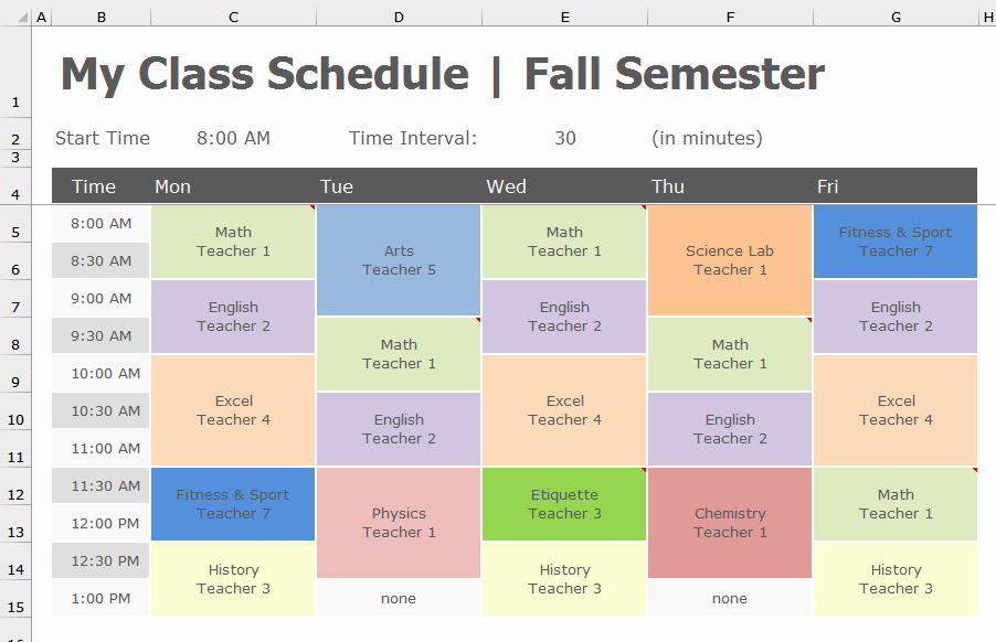 Class Schedule Template Excel Beautiful Back to School Transform Class Schedule to Pivottable