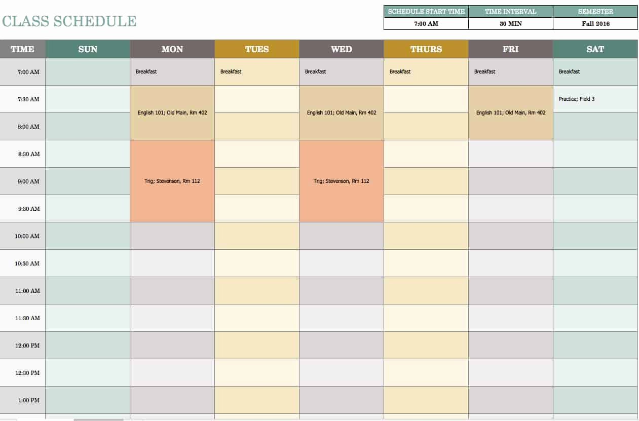 Class Schedule Template Excel Elegant Free Weekly Schedule Templates for Excel Smartsheet