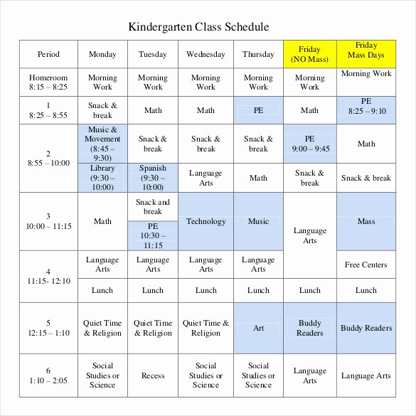 Class Schedule Template Excel New Class Schedule Template 36 Free Word Excel Documents