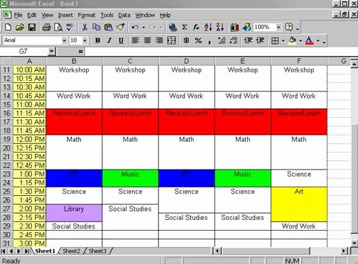 Class Schedule Template Excel New Creating A Class Schedule Using Excel