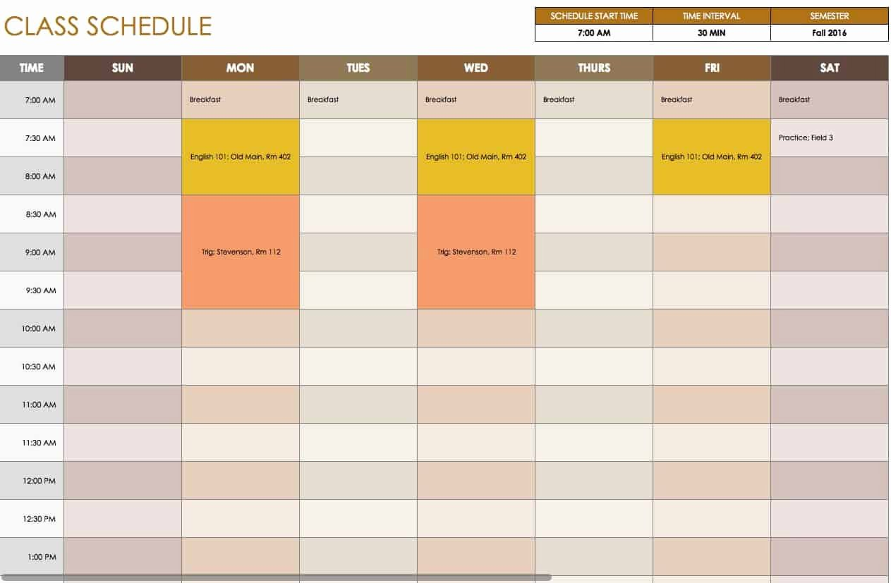 Class Schedule Template Online Beautiful Free Daily Schedule Templates for Excel Smartsheet