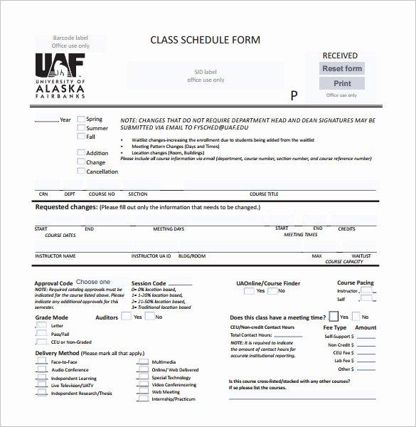 Class Schedule Template Online Elegant Class Schedule Template 36 Free Word Excel Documents