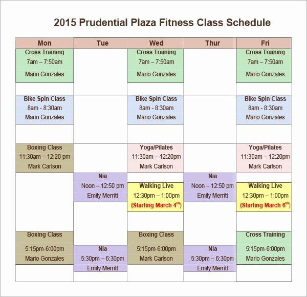 Class Schedule Template Online Elegant Free 6 Sample Class Schedules In Pdf Word