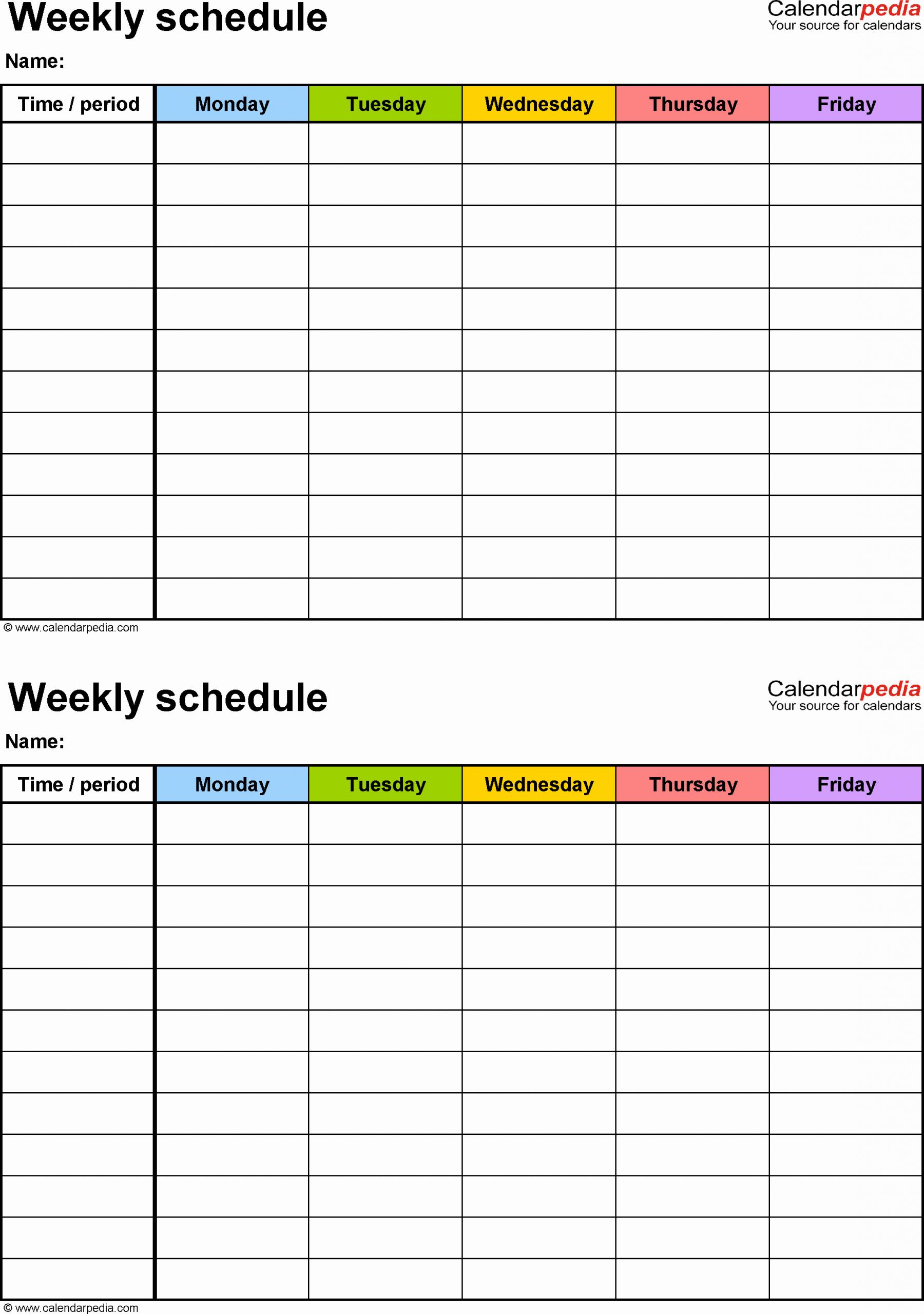 Class Schedule Template Online Luxury Free Weekly Schedule Templates for Pdf 18 Templates