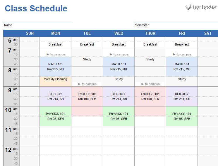 Class Schedule Template Online Unique Weekly Class Schedule Template for Excel