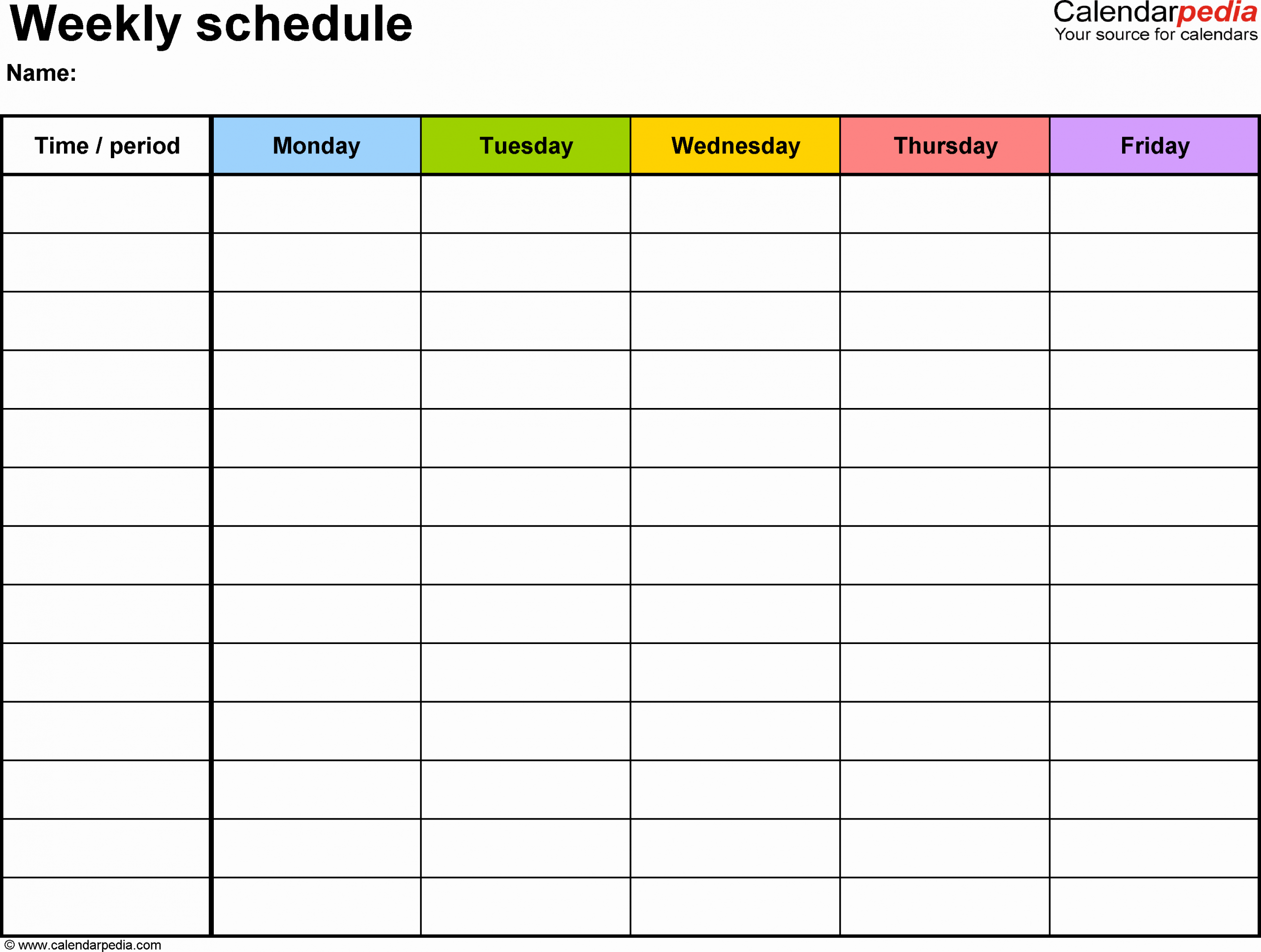 Class Schedule Template Word Awesome Weekly Schedule Template for Word Version 1 Landscape 1