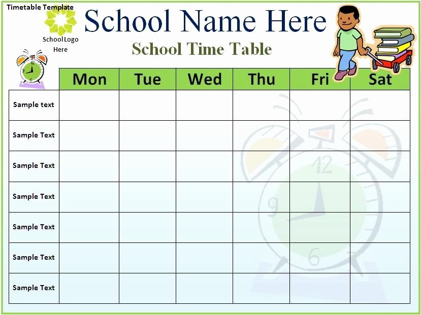 Class Schedule Template Word Fresh Time Table Printable Template