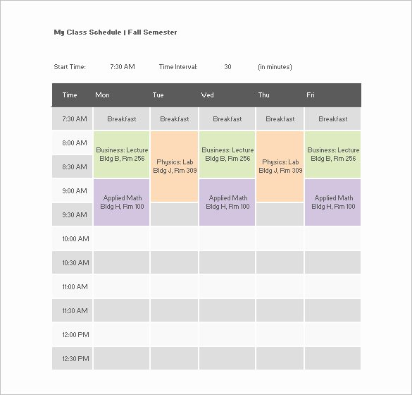 Class Schedule Template Word Luxury College Class Schedule Template – 7 Free Word Excel Pdf
